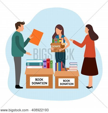 Book Donation Concept Vector Illustration On White Background. People Donate Second Hand Books For L