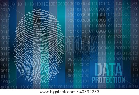 Security concept: fingerprint and data protection illustration design poster