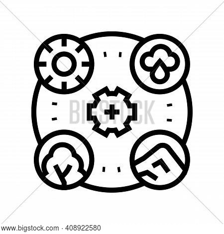 Planet Ecosystem Line Icon Vector. Planet Ecosystem Sign. Isolated Contour Symbol Black Illustration