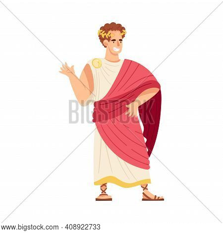 Young Male As Roman Emperor In Long Dress Wearing Crown Vector Illustration
