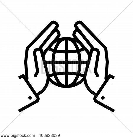Safety Planet Ecosystem Line Icon Vector. Safety Planet Ecosystem Sign. Isolated Contour Symbol Blac