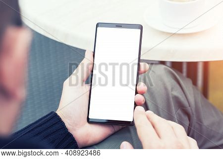 Man's Hands Holding Mobile Smart Phone.