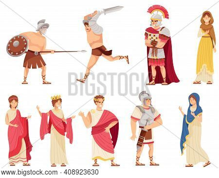 Romans Man And Woman In Traditional Ethnic Clothing With Warrior And Emperor Vector Illustration Set