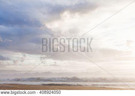 Atlantic Ocean Coast Portugal Nazare. Coastline, Wave And Foam. Escape And Slow Life Concept. Cinema
