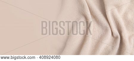 Warm Cashmere Fabric As Background, Top View With Space For Text. Banner Design