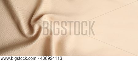 Beige Soft Cashmere Fabric As Background, Closeup View With Space For Text. Banner Design
