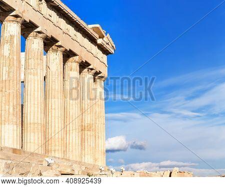 Parthenon Temple On A Sinset. Acropolis In Athens, Greece. The Parthenon Is A Temple On The Athenian