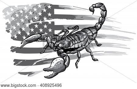Monochromatic Scorpion Cartoon Vector Illustration Design Art