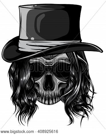 Monochromatic Gangster Skull Tattoo. Death Head With Cigar And Hat Vector