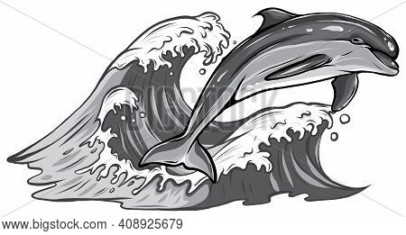 Vector Monochromatic Of Dolphins Jumping Out Of Water