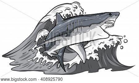 Monochromatic Cartoon Vector Illustration Of White Shark Design