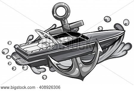 Monochromatic Ships Yachts And Boats Icons Set With Navigation Symbols Flat Isolated Vector Illustra
