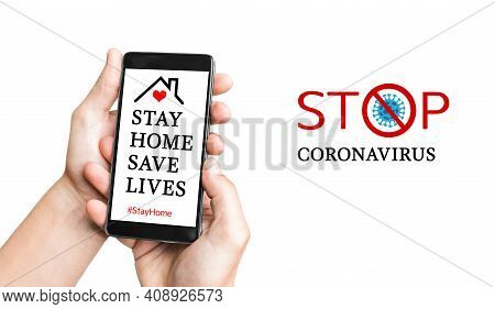 Man Hand With Mobile Smartphone With Stay Home Challenge. Stay Home During The Coronavirus Pandemic.