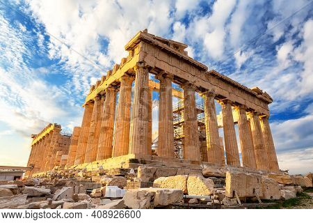 Parthenon Temple On A Sinset. Acropolis In Athens, Greece. The Parthenon Is A Temple On The Athenian