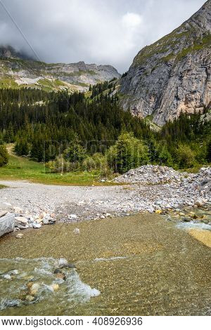 Mountain River In Vanoise National Park Alpine Valley, Savoie, French Alps