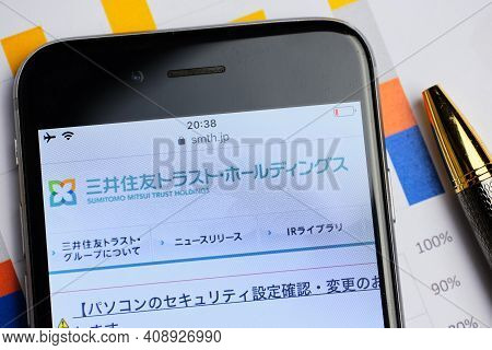 Russia, St.petersburg, 14 February 2021 Logo Sumitomo Mitsui Trust Holdings On The Website Screen Sm