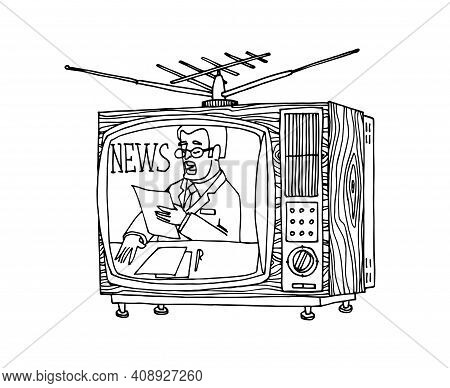 Interior Element Of The 80s-90s, Color Television With Antenna And Wood Trim, Breaking News, Vector