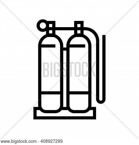Gas Cylinders For Welding Line Icon Vector. Gas Cylinders For Welding Sign. Isolated Contour Symbol