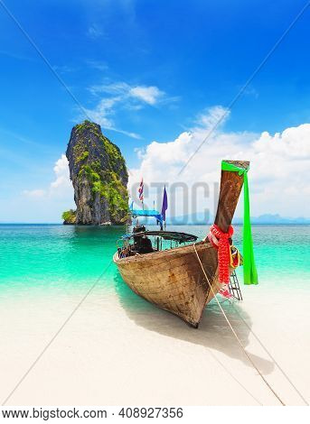 Thai Traditional Wooden Longtail Boat