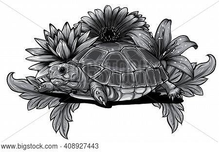 Monochromatic Turtle With Flower Designs Vector Illustration Art