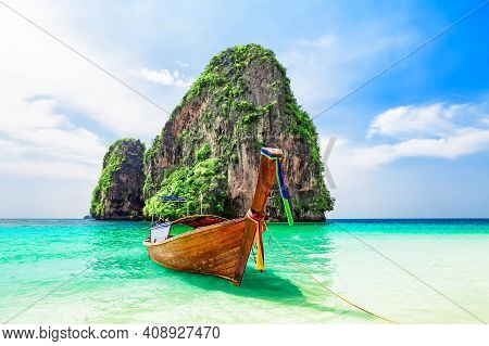 Thai Traditional Wooden Longtail Boat And Beautiful Sand Ao Phra Nang Beach In Krabi Province. Ao Na