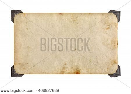 Old Vintage Photo With Retro Photo Frames Isolated On White Background.