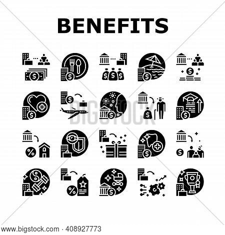 Benefits For Business Collection Icons Set Vector. Benefits For Employees And Social Protection, Fre