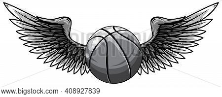 Monochromatic Basketball Template With Wings Vector Illustration Graphic
