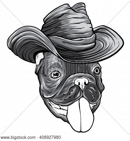 Monochromatic A Dog In A Cowboy Hat. Vector Illustration