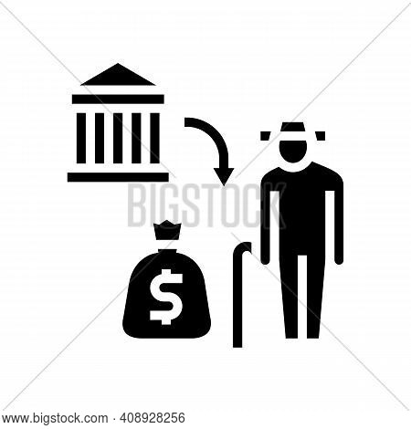 Pension Benefits Glyph Icon Vector. Pension Benefits Sign. Isolated Contour Symbol Black Illustratio