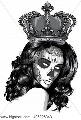 Monochromatic Skull Girl With A Crown. Vector Illustration Design