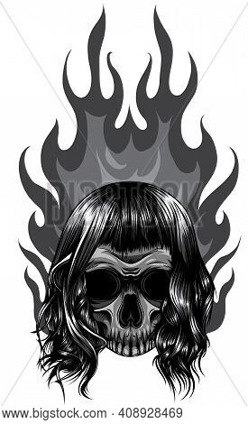 Monochromatic Skull On Fire With Flames Vector Illustration