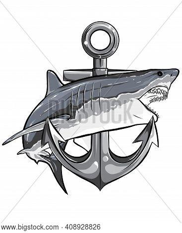 Monochromatic Jumping Shark Illustration With Anchor. Vector Art