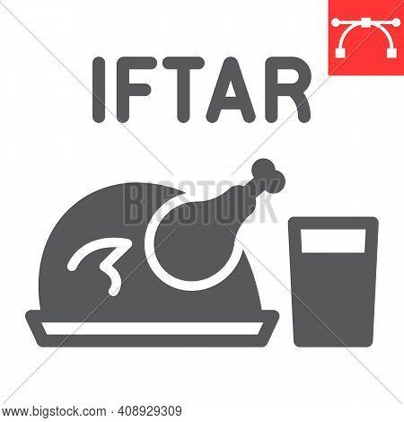 Iftar Glyph Icon, Happy Ramadan And Religion, Chicken Food With Water Vector Icon, Vector Graphics,
