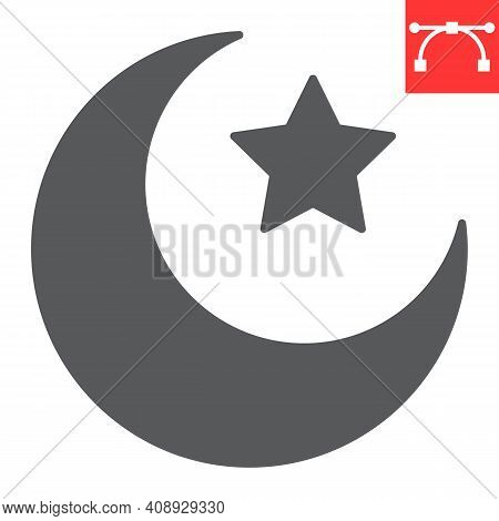 Star And Crescent Glyph Icon, Happy Ramadan And Muslim, Islamic Crescent Vector Icon, Vector Graphic