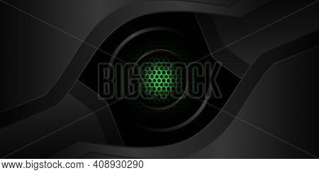 Abstract Futuristic Black And Green Gaming Background. Dark Abstract Banner With Hexagon Carbon Fibe