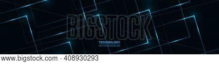 Black Technology Abstract Wide Banner With Blue Luminous Lines And Highlights. Futuristic Dark Blue