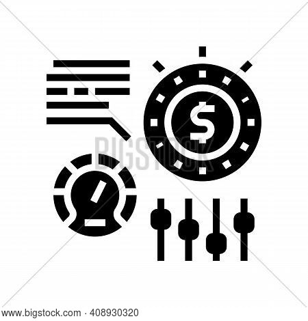 Time For Earn Money Settings And Optimize Glyph Icon Vector. Time For Earn Money Settings And Optimi