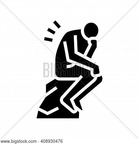 Thinker Philosophy Glyph Icon Vector. Thinker Philosophy Sign. Isolated Contour Symbol Black Illustr