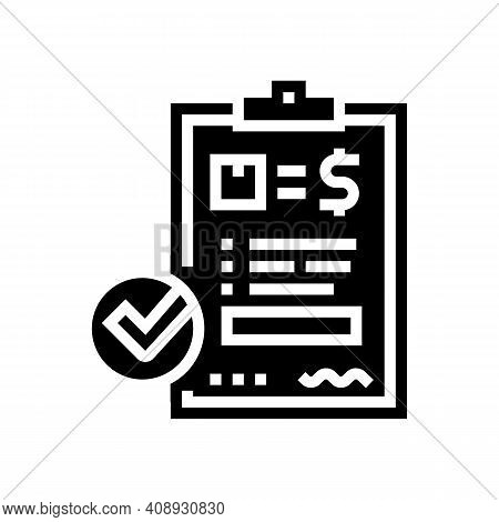 Evaluation And Contract Glyph Icon Vector. Evaluation And Contract Sign. Isolated Contour Symbol Bla