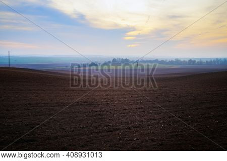 Agricultural Rural Landscape. Arable Land. Evening In The Countryside.