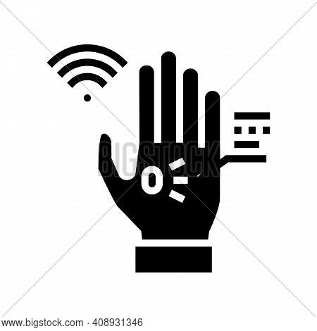 Chip Rfid In Palm Glyph Icon Vector. Chip Rfid In Palm Sign. Isolated Contour Symbol Black Illustrat