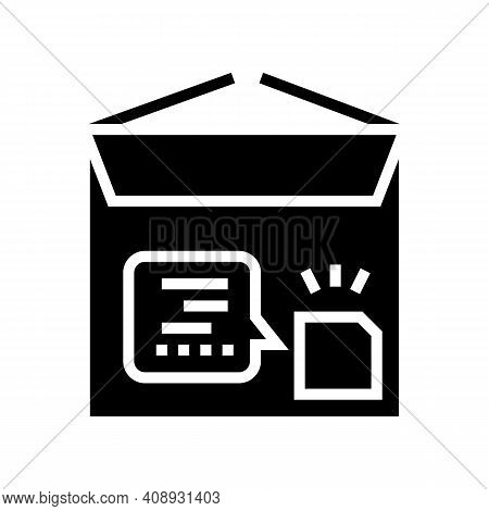 Cardboard With Rfid Glyph Icon Vector. Cardboard With Rfid Sign. Isolated Contour Symbol Black Illus