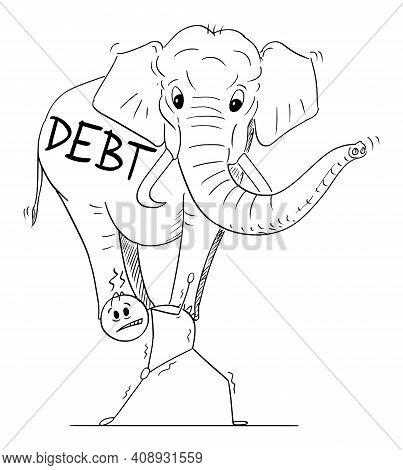 Businessman Or Man Carrying Heavy Elephant On His Back, Burden By Debt, Vector Cartoon Stick Figure