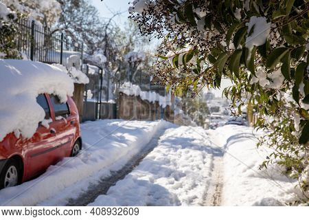 Beautiful Winter Morning Snow Covered Streets Of Athens, Greece, 17th Of February 2021.