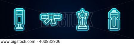 Set Line Punching Bag, Black Karate Belt, Award Cup And Fitness Shaker. Glowing Neon Icon. Vector