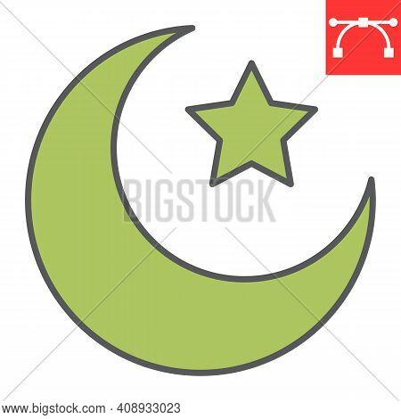 Star And Crescent Color Line Icon, Happy Ramadan And Muslim, Islamic Crescent Vector Icon, Vector Gr