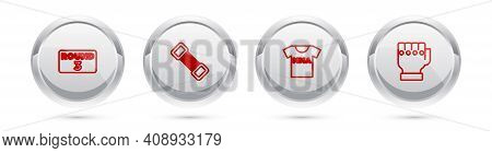 Set Line Boxing Ring Board, Chest Expander, T-shirt With Fight Club Mma And Glove. Silver Circle But