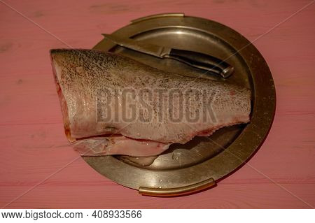 Fathead Minnow Fish Fresh. Background. Piece Of Raw Fish