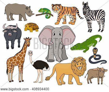 Set Of Vector Cartoon Isolated Outline Savannah Animals. Tiger, Lion, Rhinoceros, Common Warthog, Af
